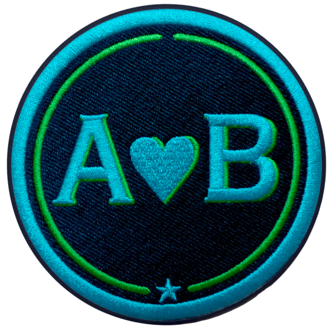 Label LOVE · 9cm · türkis/grün · personalisierbar