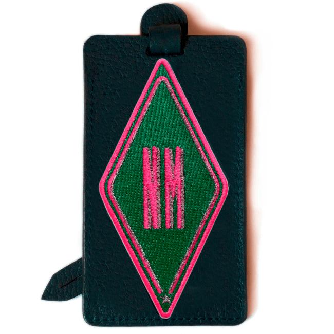 Gepäckanhänger Karo · grün · personalisierbar