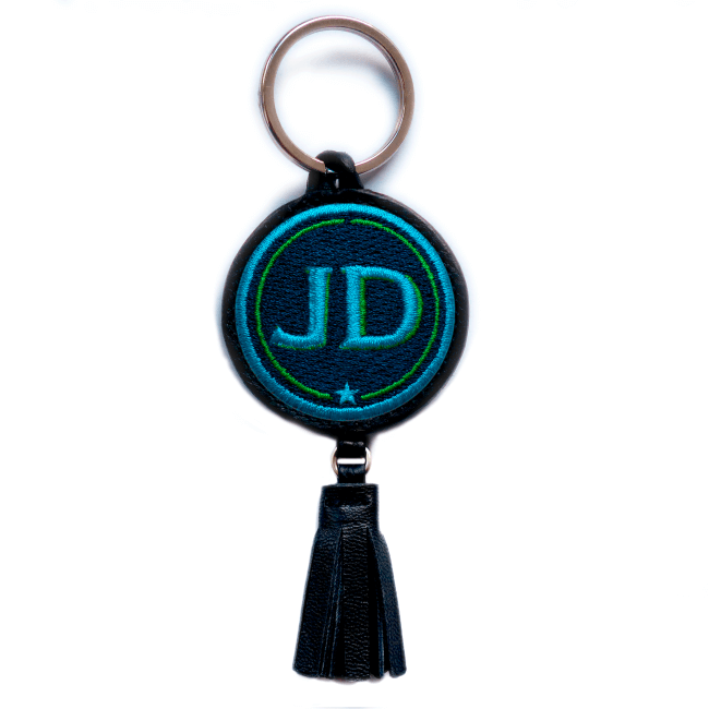 Key ring INITIALS · turquoise/green · with tassel · customizable