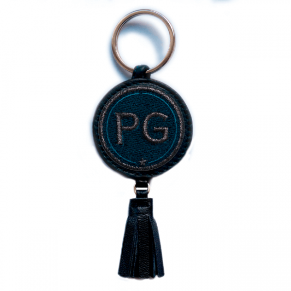 Key ring INITIALS · anthracite metallic/navy · with tassel · customizable