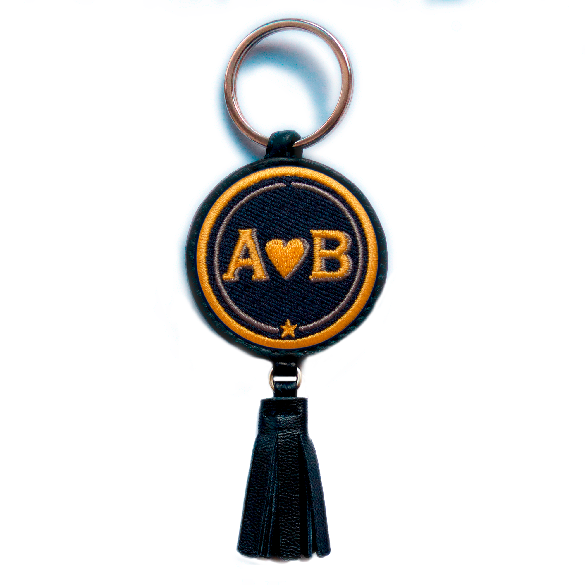 Key-ring LOVE yellow/beige with tassel · customizable