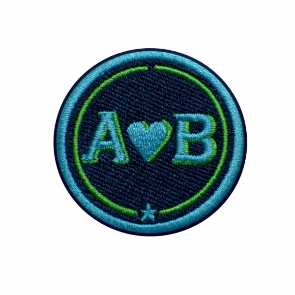 Label LOVE 4cm · turquoise/green · customizable