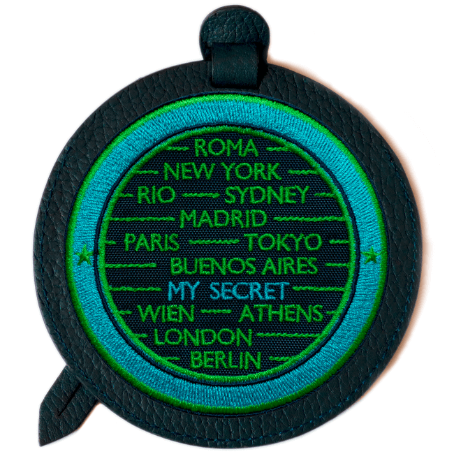 Luggage tag CITIES · TURQUOISE / GREEN · CUSTOMIZABLE
