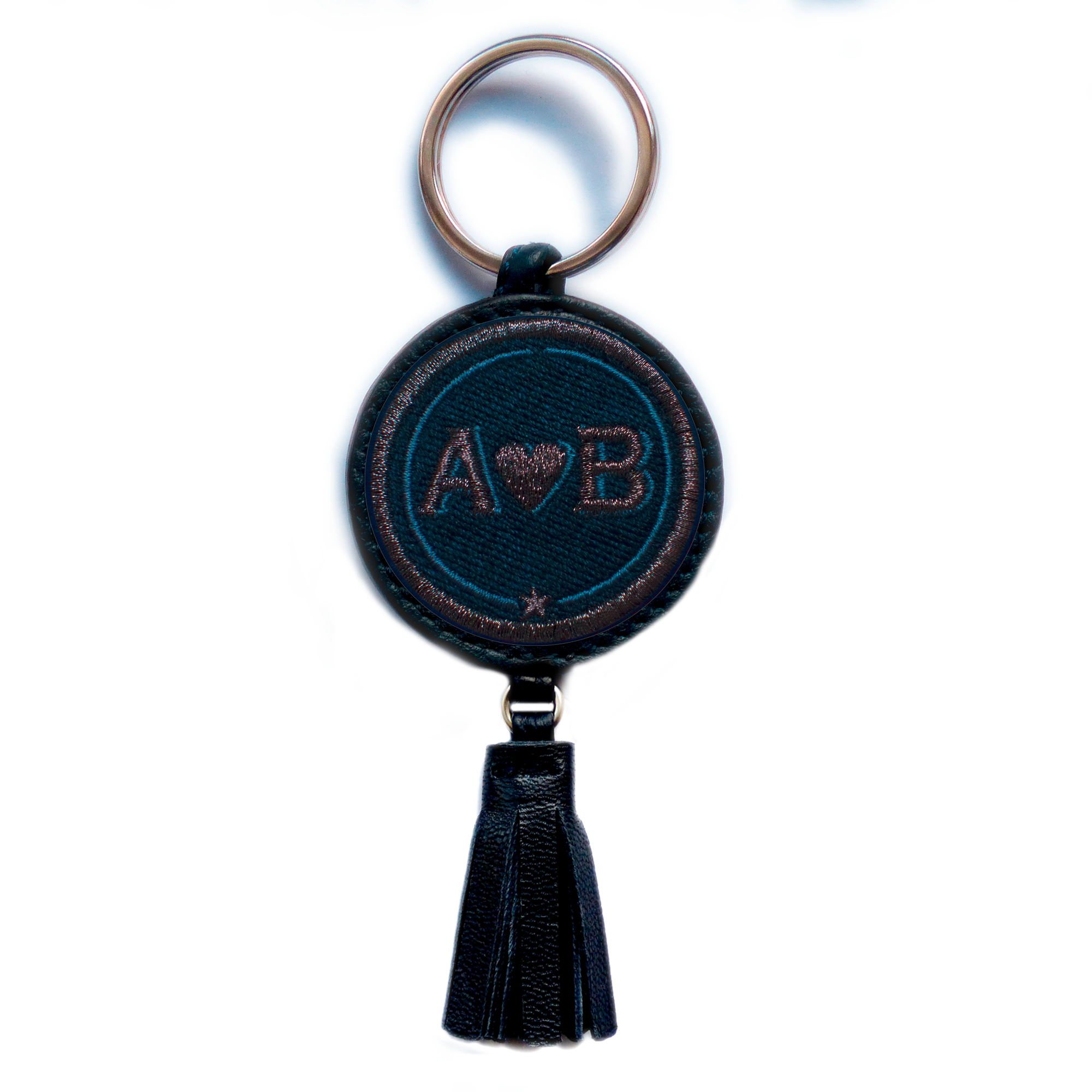 Key-ring LOVE anthracite metallic/navyblue with tassel · customizable