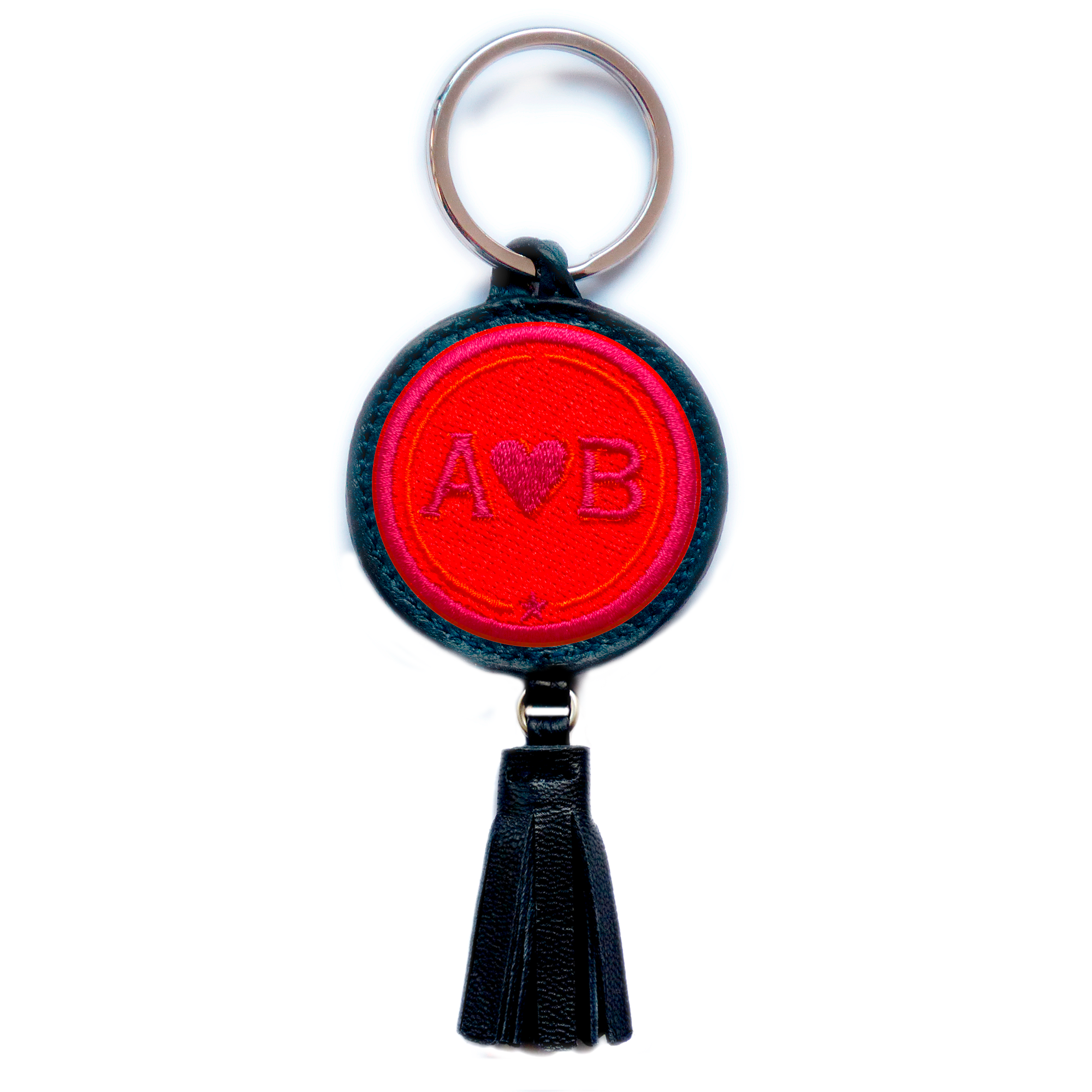 Key-ring LOVE red/pink with tassel · customizable
