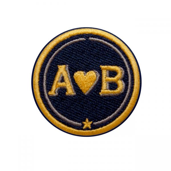 Label LOVE · 4cm · gelb/beige · personalisierbar