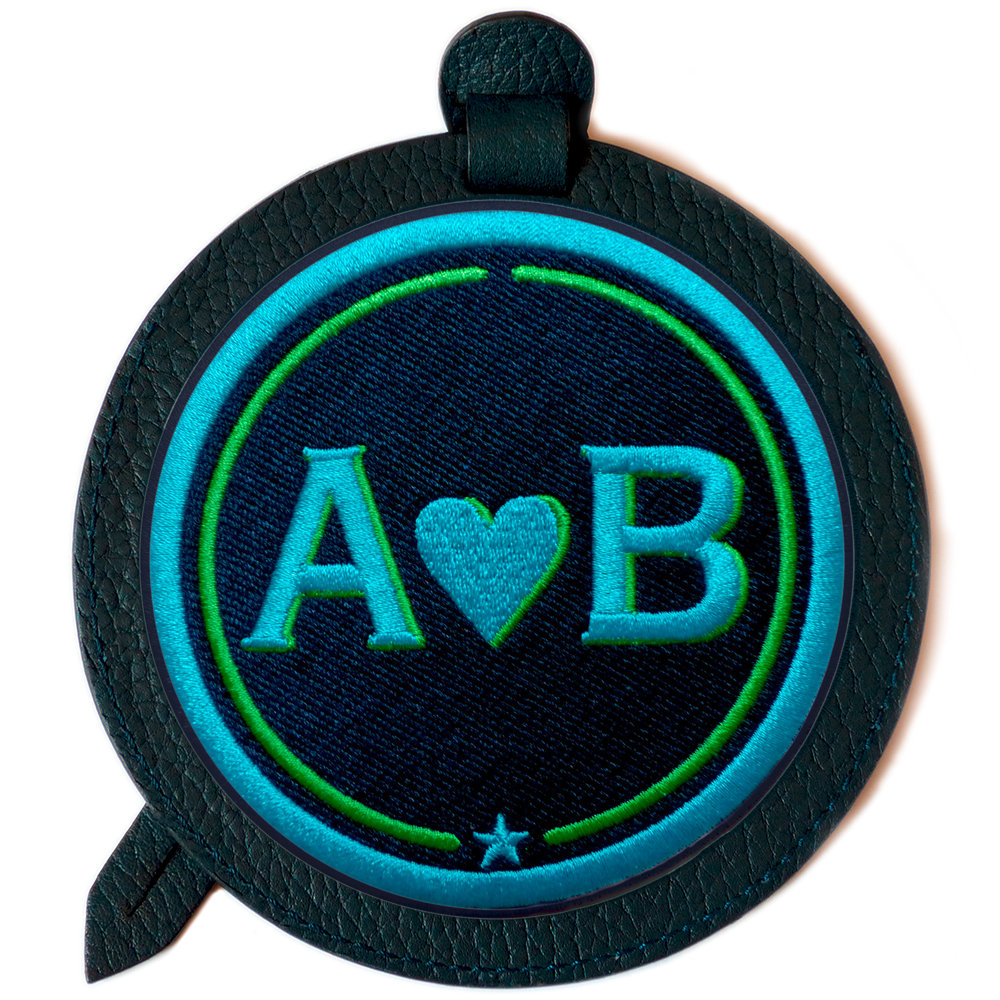 Luggage-tag LOVE turquoise/green · customizable