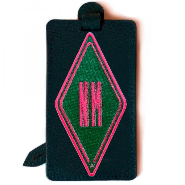Luggage tag KARO green · customizable