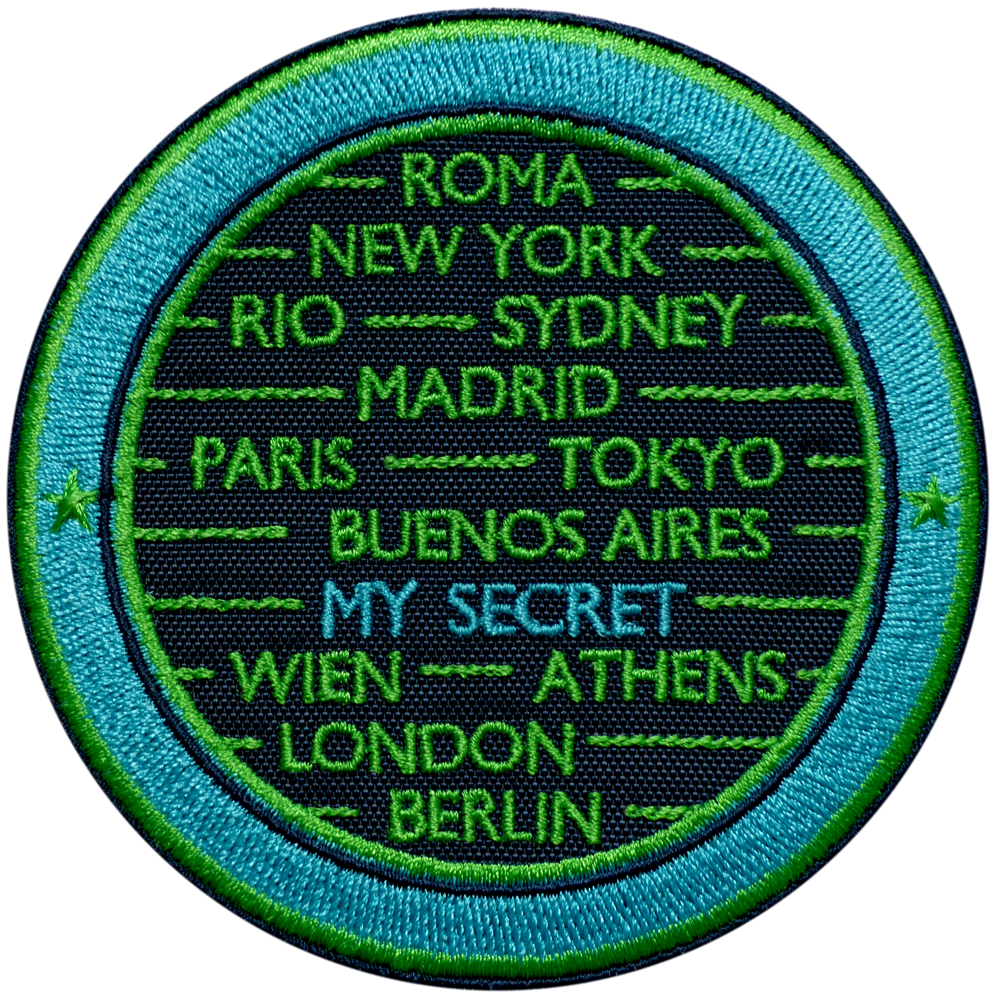 Label CITIES · TURQUOISE / GREEN · CUSTOMIZABLE