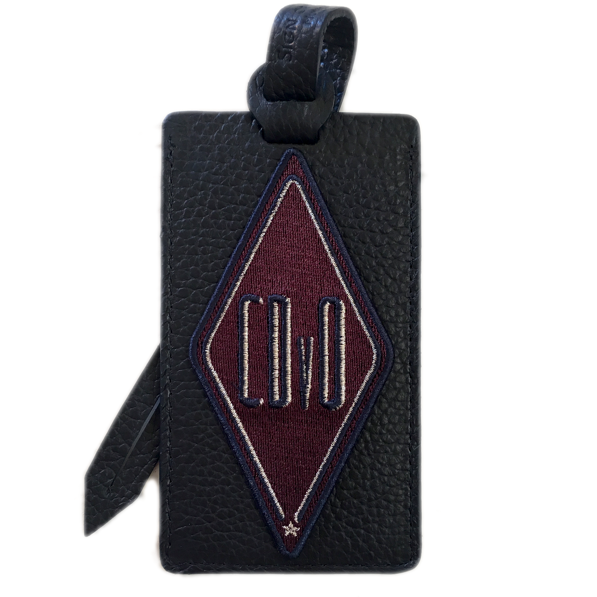 Luggage tag KARO burgundy · customizable