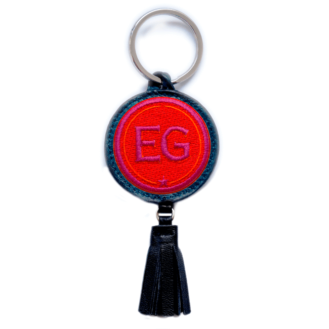 Key ring INITIALS · red/pink · with tassel · customizable