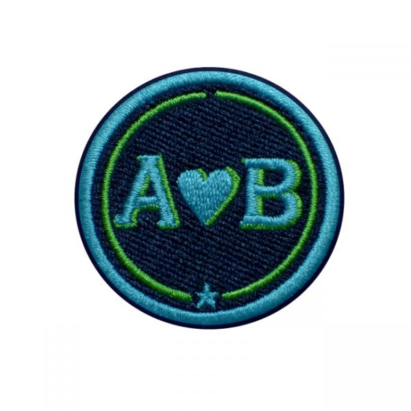 Label LOVE · 4cm · türkis/grün · personalisierbar