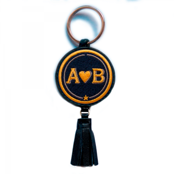 Key-ring LOVE yellow/beige with tassel · customizable