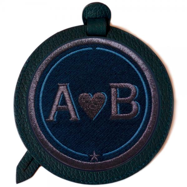 Luggage-tag LOVE anthracite metallic/navyblue · customizable