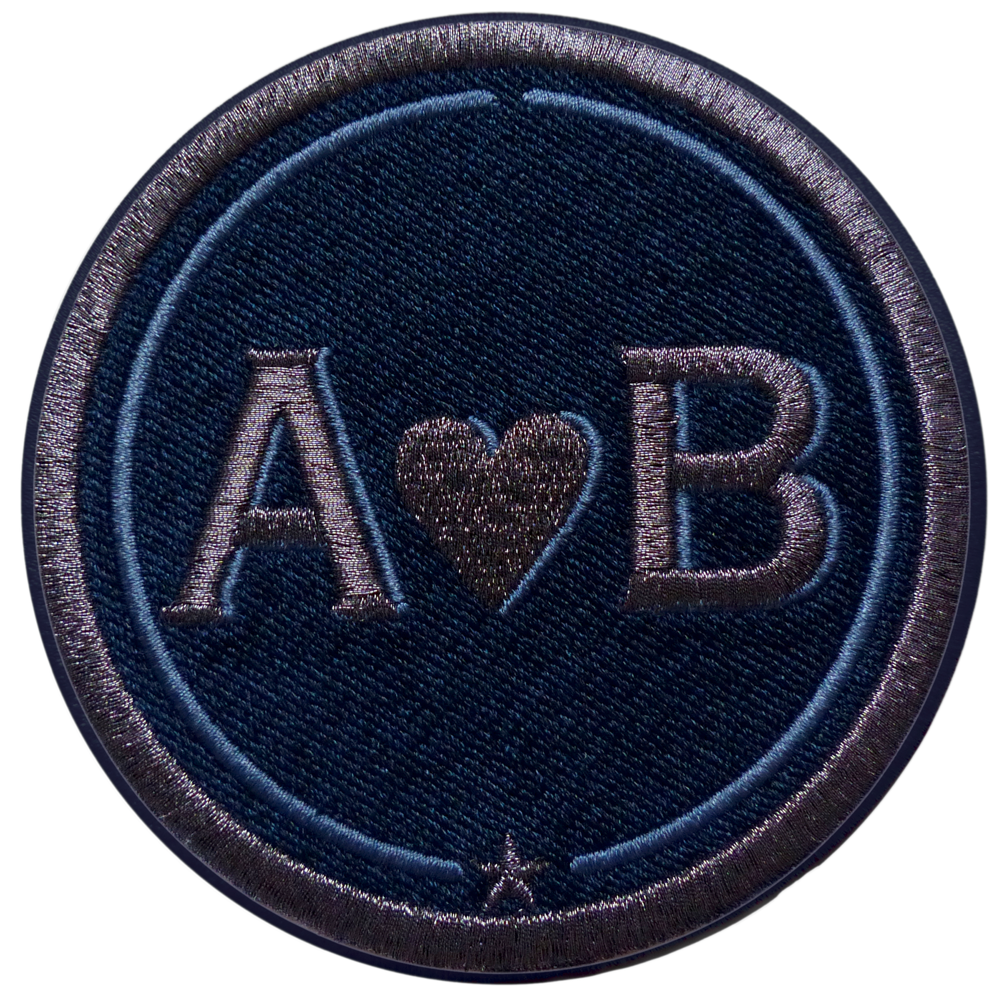 Label LOVE 9 cm · anthracite metallic/navy blue · customizable