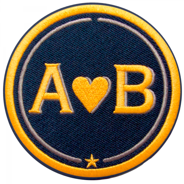 Label LOVE · 9cm · gelb/beige · personalisierbar