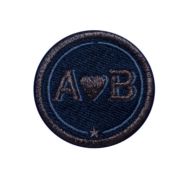 Label LOVE · 4cm · anthrazit metallic/marine · personalisierbar
