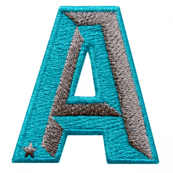 Label SINGLE LETTER · TURQUOISE / BEIGE
