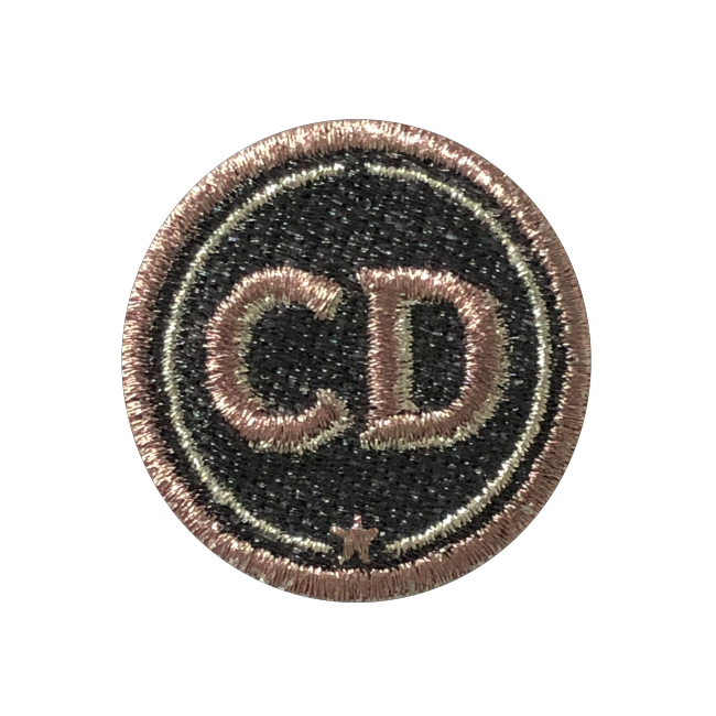 Patch INITIALS · 4cm · grey/metallic · customizable