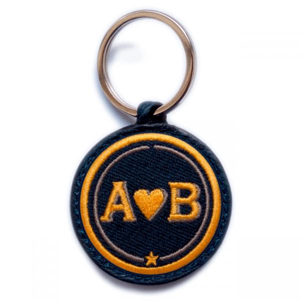 Schlüsselanhänger Love · gelb/beige · personalisierbar