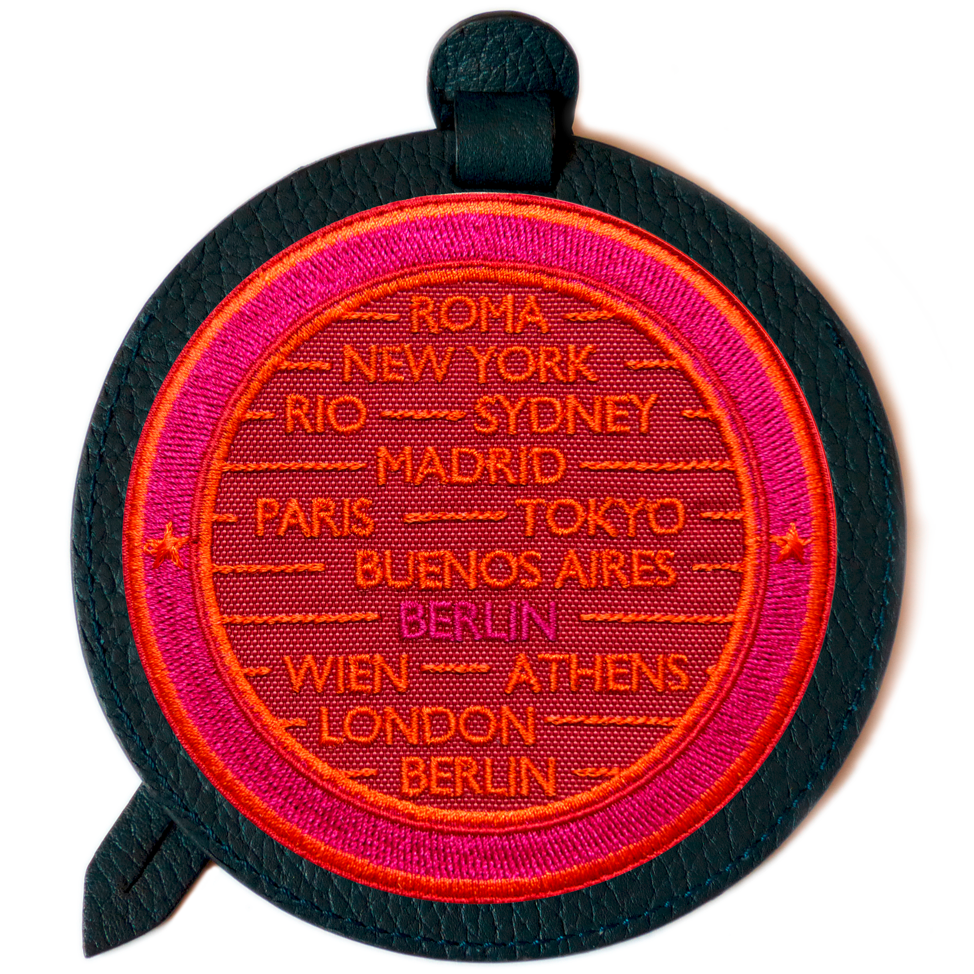 Luggage tag CITIES · RED / PINK · CUSTOMIZABLE